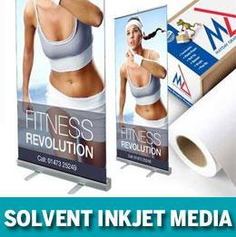 Solvent inkjet media for wide format uv printers